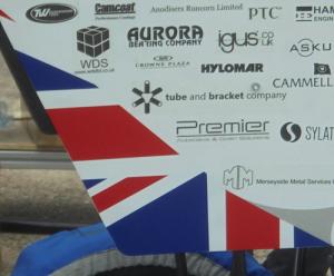Car with logos - close up